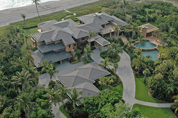 ariel shot of this contemporary oceanfront estate