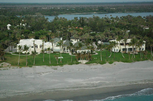 Ariel shot of single-family oceanfront estate in West Palm Beach, Florida