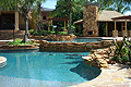 Beautiful view of the multi-tier pool and patio space